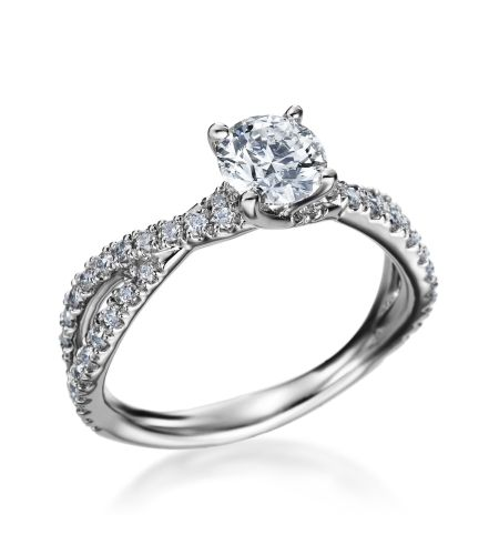 18ct White Gold Brilliant Twist Diamond Set Band Ring