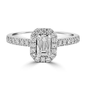 Platinum Emerald Halo Diamond Set Band
