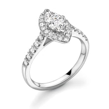 Load image into Gallery viewer, Marquise Halo Diamond with Diamond Set Band