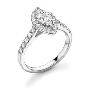 Magnificent Marquise Solitare with Halo and diamond set band
