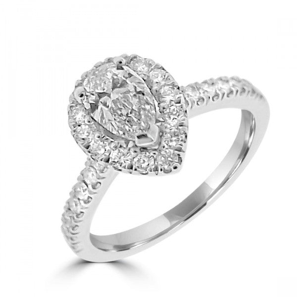 Pear Cut Halo with Diamond Set Band Set in Platinum