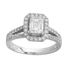 Load image into Gallery viewer, Platinum Emerald Halo Diamond Split Shoulders