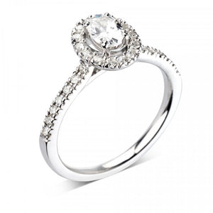 Platinum Oval Halo Diamond Set Band Wedfit Ring