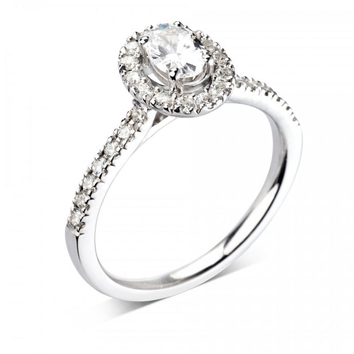 Oval Halo with Diamond Set Band Set in Platinum
