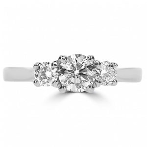 Platinium Three stone Round brilliant cut Diamond Ring
