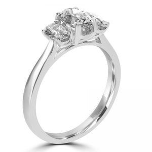 Platinum Oval Cut Three-Stone Diamond Ring