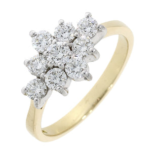 18ct Gold 9 Diamond Cluster Ring