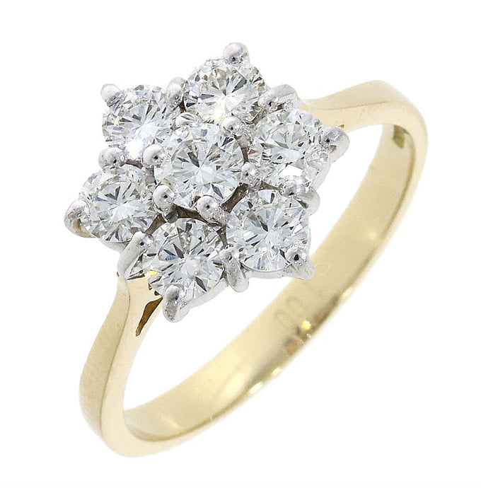 18ct Gold flower 1.07ct Diamond Cluster Ring
