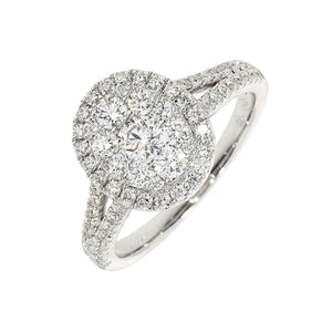 18ct White Gold 0.90ct Diamond Split Shoulder Oval Cluster Ring