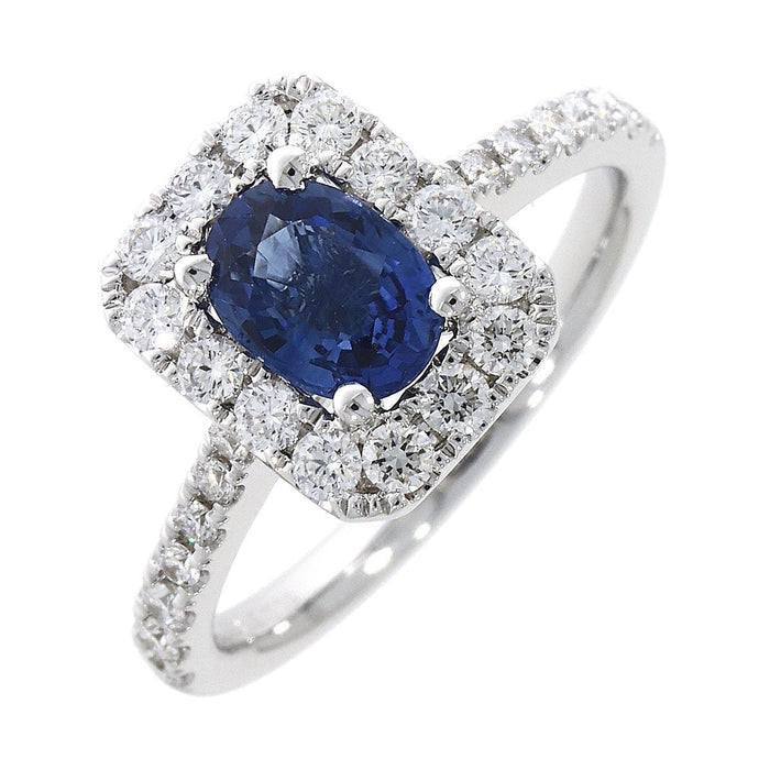 18ct White Gold 1.08ct oval Sapphire and 0.53ct Diamond Emerald Shape Ring