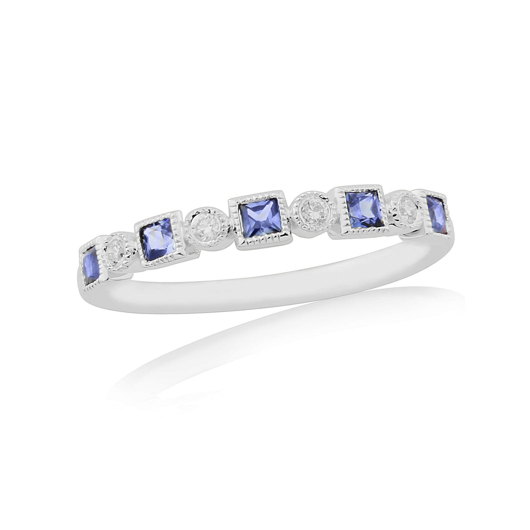 18ct White Gold Diamond & Sapphire Ring