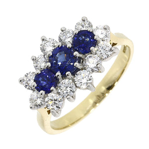 18ct Yellow Gold 1.20ct Sapphire and 0.79ct Diamond Cluster Ring