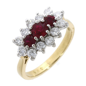 18ct Yellow Gold 0.86ct Ruby Diamond Cluster Ring