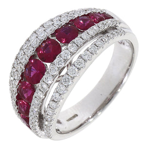 18ct White Gold Ruby and Diamond Five Row