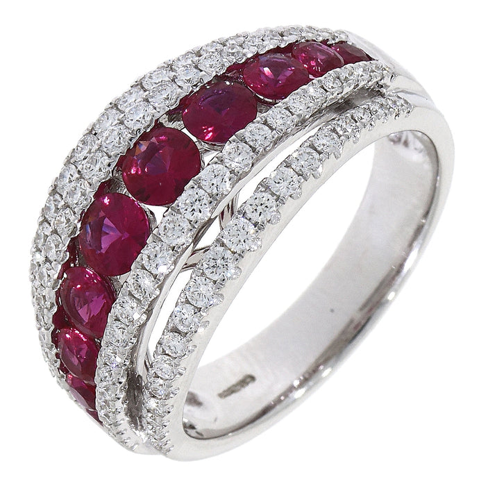 18ct white gold Ruby and diamond graduating 2 row split grain ring