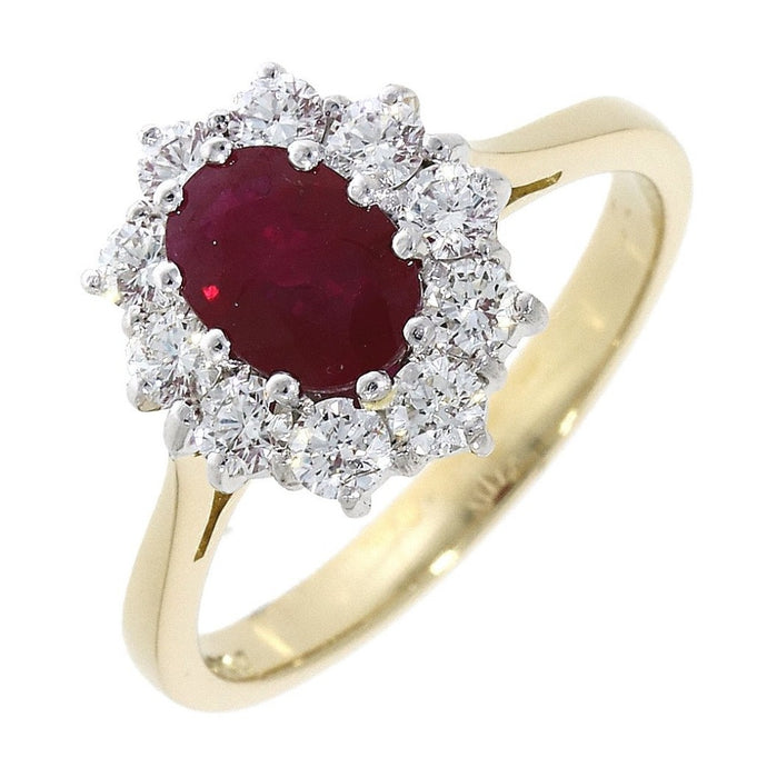 18ct Yellow Gold 1.05ct Ruby Diamond Oval Claw Set Cluster Ring