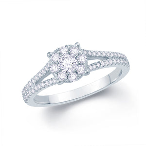 18ct White Gold Illusion Set Solitaire with Diamond Set Y-Split Shoulders
