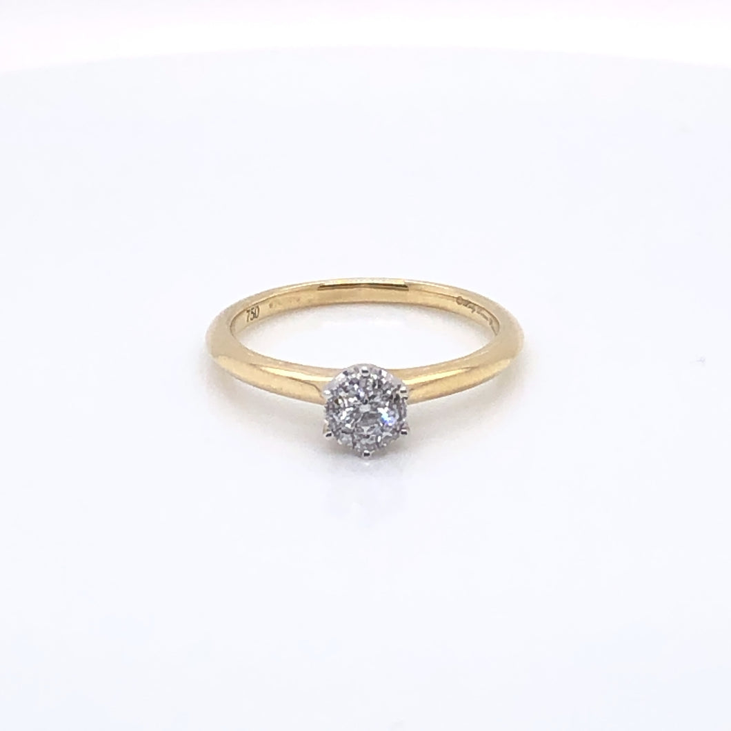 18ct Yellow Gold Brilliant Illusion Solitaire