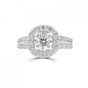 18ct White Gold Round Brilliant Halo Three Row Diamond Band