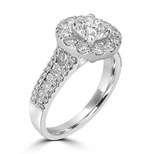 Load image into Gallery viewer, 18ct White Gold Round Brilliant Halo Three Row Diamond Band