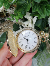 Load image into Gallery viewer, Burleigh Gold Plated Full Hunter Pocket Watch