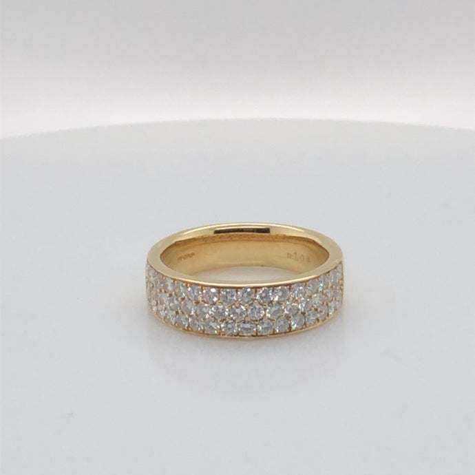 18ct Yellow Gold Three Row Pave Diamond Ring 1.10ct