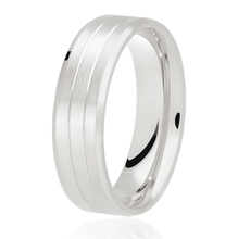 Load image into Gallery viewer, Flat top, matt finish with 2 cut out rows wedding ring in platinum 4mm Light weight