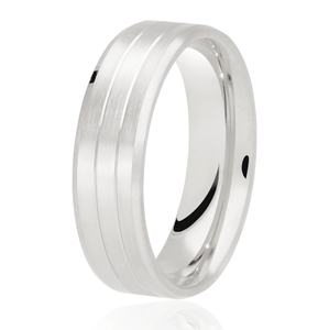 Flat top, matt finish with 2 cut out rows wedding ring in platinum 4mm Light weight