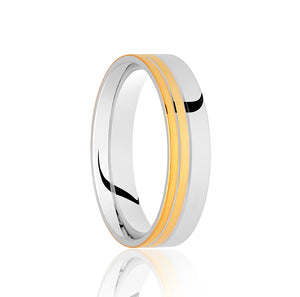 Flat top with 2 row, two tone wedding ring in Platinum and 18ct yellow gold 4mm