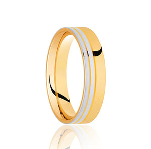 Flat top, two row , two tone off set wedding ring in 18ct yellow gold and Platinum, 4mm