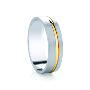 Flat matt court with thick off set two tone groove wedding ring in either platinum, palladium, 18 white, rose or yellow gold in 4, 5 & 6mm thickness. (Plat ave price)
