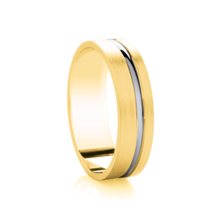 Load image into Gallery viewer, Flat matt court with thick off set two tone groove wedding ring in either platinum, palladium, 18 white, rose or yellow gold in 4, 5 & 6mm thickness. (Plat ave price)