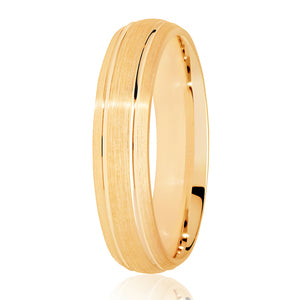 Matt finish with 2 cut rows wedding ring in 18ct yellow gold, 4mm Light weight