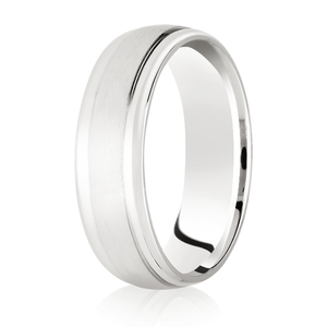 Brushed Centre Court Band with Half round diamond cut edged wedding ring in either platinum, palladium, 18ct white, rose or yellow gold in 4, 5 & 6mm thickness. (Plat ave price)