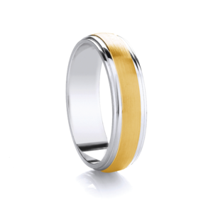 Two tone, domed with matt row wedding ring in Platinum and 18ct yellow gold 4mm