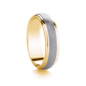 Two tone, domed with matt row wedding ring in 18ct yellow gold and Platinum, 4mm