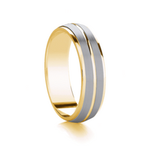 Load image into Gallery viewer, Two tone, two row, matt finish wedding ring in Platinum and 18ct yellow
