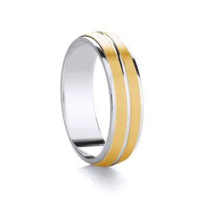Two tone, two row, matt finish wedding ring in Platinum and 18ct yellow