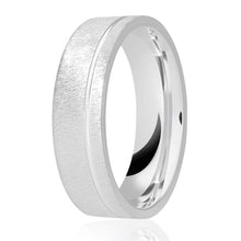 Load image into Gallery viewer, Rough brush matt flat top with diamond cut offset groove wedding ring in either platinum, palladium, 18ct white, rose or yellow gold in 4, 5 & 6mm thickness. (Plat ave price)