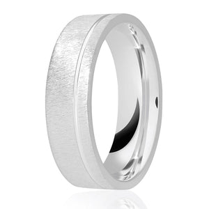 Rough brush matt flat top with diamond cut offset groove wedding ring in either platinum, palladium, 18ct white, rose or yellow gold in 4, 5 & 6mm thickness. (Plat ave price)