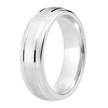Load image into Gallery viewer, Polished edge, matt finish centre wedding ring in platinum, 4mm Light weight