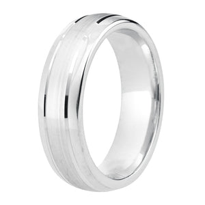 Polished edge, matt finish centre wedding ring in platinum, 4mm Light weight