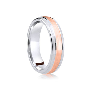 Two tone, centre row, matt finish wedding ring in platinum and 18ct yellow 4mm medium weight