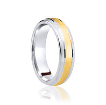 Load image into Gallery viewer, Two tone, centre row, matt finish wedding ring in platinum and 18ct yellow 4mm medium weight