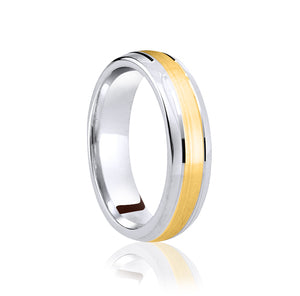 Two tone, centre row, matt finish wedding ring in platinum and 18ct yellow 4mm Light weight