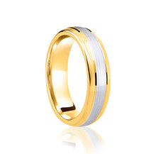 Load image into Gallery viewer, Two tone, centre row, matt finish wedding ring in platinum and 18ct yellow 4mm Light weight