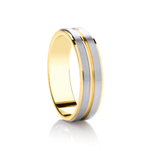 Two tone, Flat top with 2 matt rows wedding ring in 9ct yellow and palladium 950, 4mm