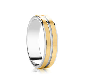 Two tone, Flat top with 2 matt rows wedding ring in platinum and 18ct yellow 4mm Light weight