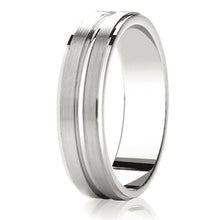 Load image into Gallery viewer, Flat top with 2 matt rows wedding ring in platinum 4mm Light weight