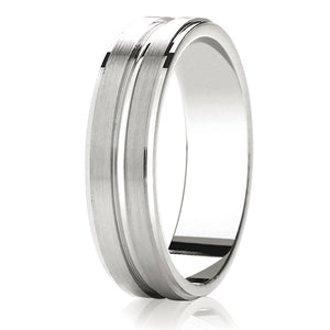 Flat top with 2 matt rows wedding ring in platinum 4mm Light weight